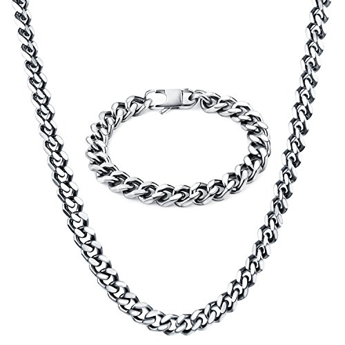 "TOTU Stainless Steel Link Curb Chain Necklace with Bracelet , 10mm Width, 24""/8.5"" Length"