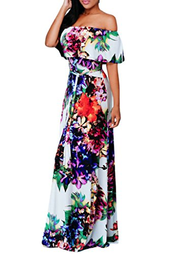 Happy Sailed Women Off Shoulder Party Maxi Dress, Small White (Colorful Maxi Dress compare prices)
