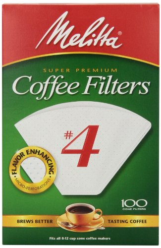 Melitta Cone Coffee Filters, White, No. 4, 100 count (Cone Coffee Filters White compare prices)