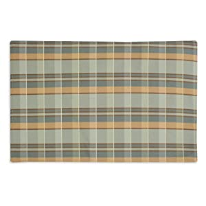 Chooty Plaid Peacock-VL Surf Lined 12-1/2 by 19-Inch Placemat, Set of 4