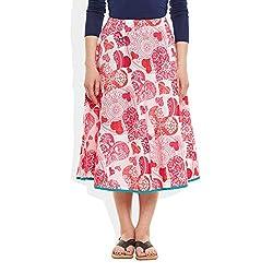 Womens Apparels Cotton Printed Medium Length Skirt A-Line, Medium,W-CMLSM-3029