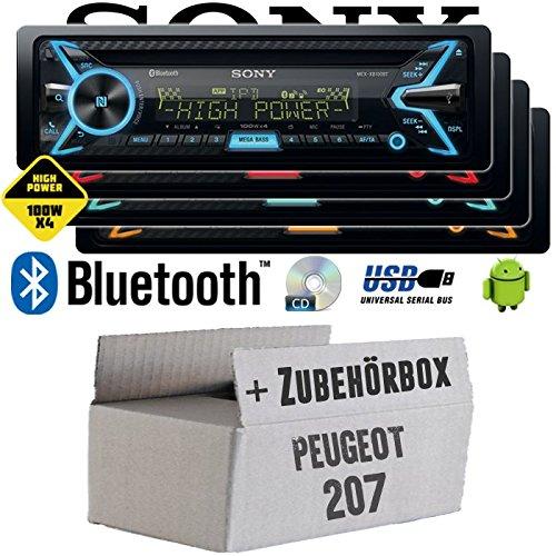 Peugeot 207 - Sony MEX-XB100BT - Bluetooth | CD | MP3 | USB | 4x100 Watt Autoradio - Einbauset
