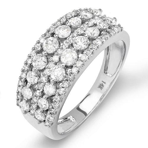 1.25 Carat (ctw) 14k White Gold Round Diamond Ladies Anniversary Wedding Band Ring