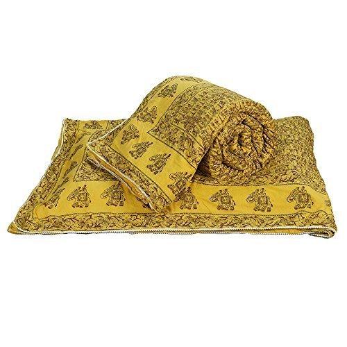Little India Exclusive Jaipuri Handblock 2 piezas Juego de funda de edredón para cama doble amarillo