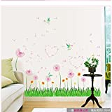 Amaonm® Removable Pink Dandelions Love Heart Shape Wall Decals Diy Green Grass Wall Stickers Murals Home Art...