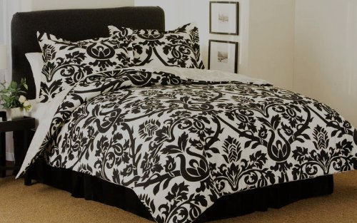Cheap Modern Damask Black And White Comforter Bedding Set Queen - Black and white damask bedding