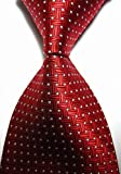 EXT Collectino 100% Silk Necktie, New Classic Weave Style Red White Dot Fashion Trendy Chick Elegant Formal Business Tie JACQUARD WOVEN Men's Suits Groom Wedding Marriage Party Ties