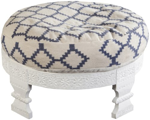 Surya FL1026-767628 Ottoman, 30.4 by 30.4 by 11.2-Inch, Ivory/Navy