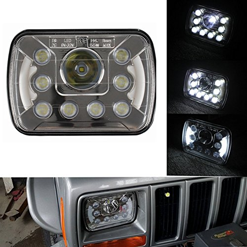 Pair-5x7-6x7-High-Low-Beam-Led-Headlights-for-Jeep-Wrangler-YJ-Cherokee-XJ-Toyota-Pickup-H6054-H5054-H6054LL-69822-6052-6053-with-Angel-Eyes-DRL