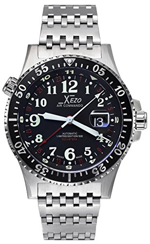 Xezo-Air-Commando-300-Meters-Water-Resistant-Divers-and-Pilot-Swiss-Made-Automatic-Watch-with-3-Time-Zones
