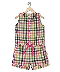Budding Bees Girls Multicoloured Checked Jumpsuit
