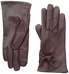 Gloves International Women's Leather Gloves with Bow, Wine, X-Large
