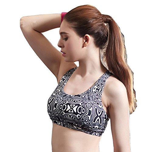 Cotton Gym Sports Bra Top Full Cup Seamless Brassiere Padded Fitness Bralette Athletic Vest Crop Sport Bras For women Black Small