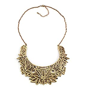 Pugster Vintage Golden Chain Jewelry Hollow Floral Adorned Bubble Bib Statement Pendant Necklace