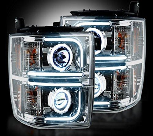 Chevrolet Silverado 14-15 (3Rd Gen) Projector Headlights Oled Halos & Drl - Clear / Chrome