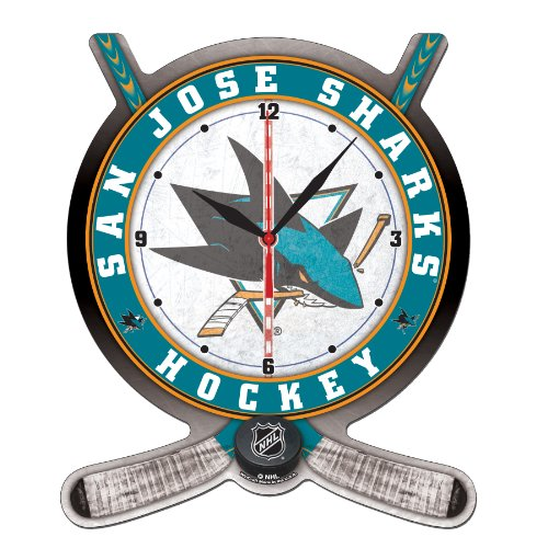 NHL San Jose Sharks Hockey Stick and Puck High Definition Clock