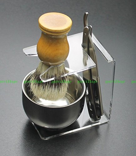 Men Shave Set Kit Stainless Straight Razor Shaving Brush Stand Bowl +10 Blades