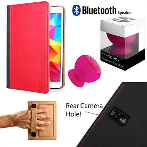 Mary Executive Leather Portfolio Case [Stand] [Rear Camera Hole] For Samsung Galaxy Tab Pro 10.1 + Pink Bluetooth Suction Speaker