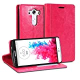 LG G3 Case, GMYLE Wallet Case Simple for LG G3 - Rose Red Crazy Horse Pattern PU Leather Protective Flip Folio Slim Fit Wallet Stand Case Cover (with Card Slots and Money Pocket)