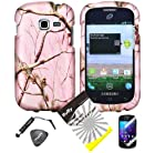 4 items Combo: ITUFFY LCD Screen Protector Film + Mini Stylus Pen + Case Opener + Silver Pink Pine Tree Leaves Camouflage Outdoor Wildlife Design Rubberized Snap on Hard Shell Cover Faceplate Skin Phone Case for Samsung Galaxy Centura S738C / Samsung Galaxy Discover S730G (Straight Talk / Net10/ TracFone)