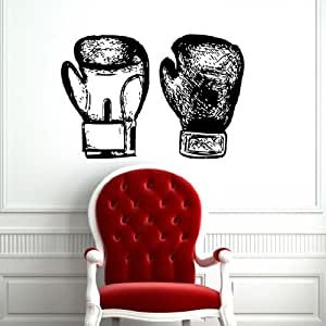 Wall vinyl decals boxing gloves sketch gym sticker art for Boxing bedroom ideas