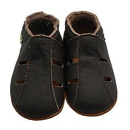 Sayoyo Baby Soft Sole Leather Infant Toddler Prewalker Darkbrown Shoes Sandal(18-24 months)