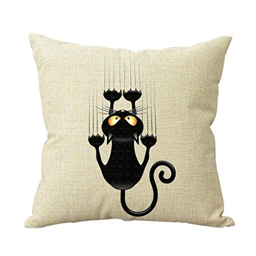 Cotton Linen Climbing Cat Decorative Throw Pillow Case Cover Cat Cushion Cover Case 18*18 New Design Decor Square