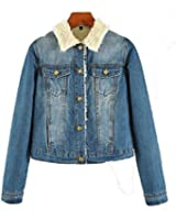 Sghya Womens Vintage Cashmere Lined Lapel Long Sleeve Croped Denim Jacket