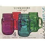 Circleware - Yorkshire with Style - Glass Handled Mason Jar Mugs - Set of 4 - Jewel Tones - 17.5 oz