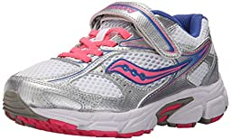 Saucony Girls Cohesion 8 A/C Running Shoe (Little Kid/Big Kid), White/Silver/Coral, 12.5 W US Little Kid