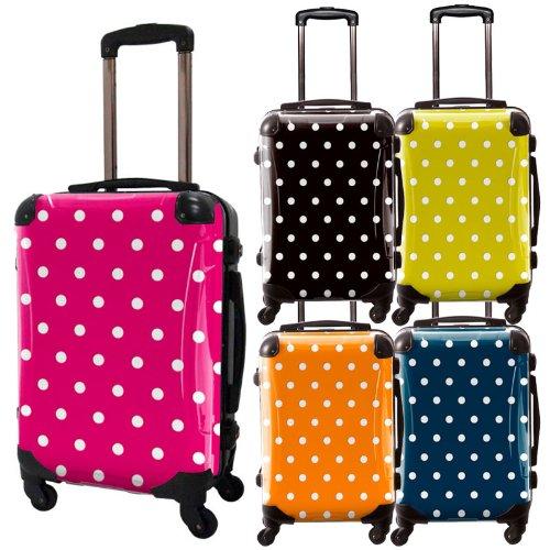 カラードットスーツケース/ベーシック/フレーム4輪/TSAロック/機内持込可能/キャラート/水玉/ブラックピンクオレンジネーブルイエロー ライトグリーン ネイビー グリーン/CRA01-028