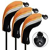 Andux ゴルフ ハイブリッド クラブヘッドカバー 交換可能な番号タグ付き 3個セット (ブラック/オレンジ)