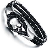JewelryWe Bijoux Bracelet Homme Tête de Mort Crâne Gothique Diable Halloween Noël Cuir Acier Inoxydable Fantaisie Couleur Argent Noir Longueur 18cm Avec Sac Cadeau