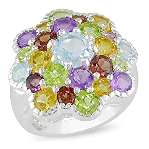 Sterling silver multi-colored gemstone ring. (6 1/4CT tgw)