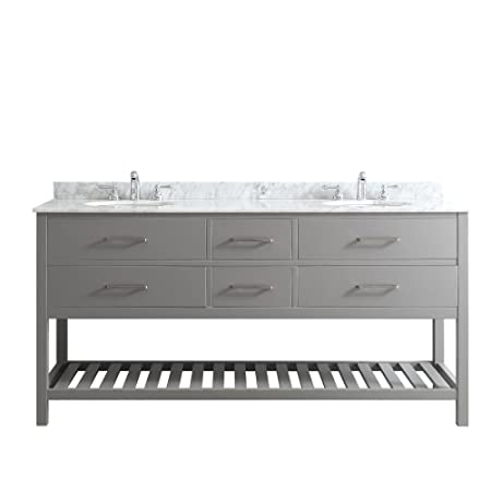 "Vinnova 732072-GR-CA-NM Foligno Double Vanity Set, 72"", Grey"