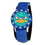 Disney By Ewatchfactory Kids Quartz Watch with White Dial Time Teacher Display and Blue Nylon Strap W000157