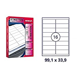 HKR-welt étiquettes d'adresses - 99,1 x 33,9 mm-format a4-feuilles/1600 étiquettes étiquettes)