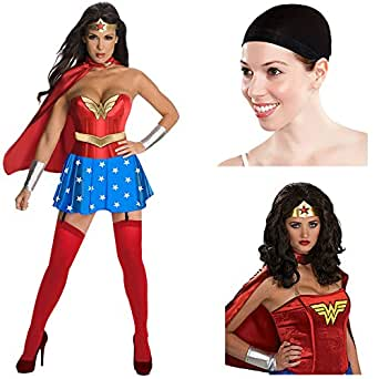 Wonder Woman Corset Adult Costume, Wonder Woman Adult Wig, Wig Cap