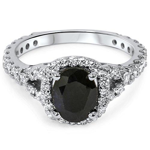 Carbonado ♦♦♦ 2 25CT Black Sapphire & Diamond Cushion Halo Engagement R