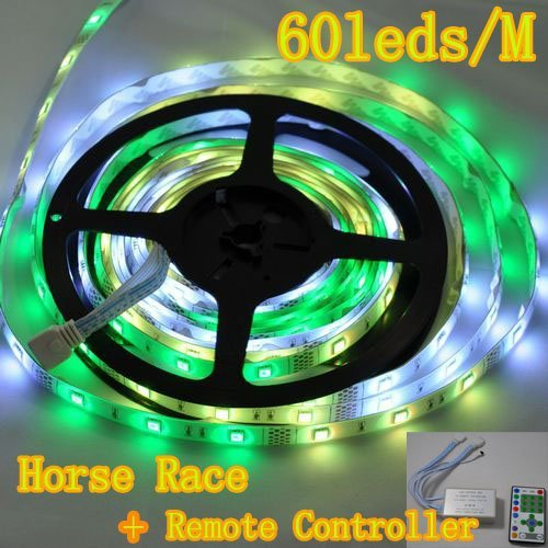Fast Shipping 5Sets/Lot Horse Race Led Strip 5050+Power Adapter+Related Remote Controller Dc12V 72W 300Leds 5M Waterproof Ip65