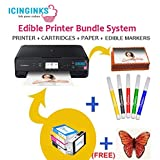 Icinginks Latest Edible Printer Bundle, Includes 50 Edible Sheets, Edible Cartridges, Edible Markers, Cake Printer, Edible Ink Printer, Edible Image Printer, Canon Edible Printer (Color: Black, Tamaño: 18