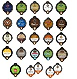 25 Count - Coffee, Tea, Hot Cocoa, Apple Cider, Latte and Cappuccino Variety Sampler Vue Cup for Keurig Vue Brewers - from Green Mountain, Caribou, Cafe Escape, Tullys, Barista Prima etc