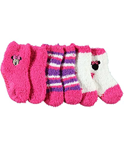 "Minnie Mouse Baby Girls' ""Minnie Colors"" 3-Pack Ankle Socks - Fuchsia, 12 - 18 Months front-1019348"