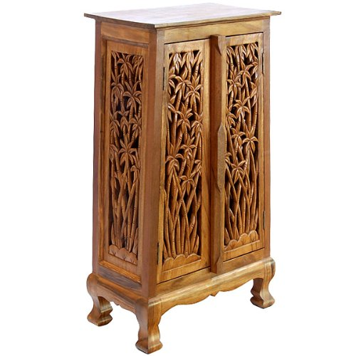 Exp 40-Inch Handmade Bamboo Forest Storage Cabinet/End Table, Natural Brown front-266797