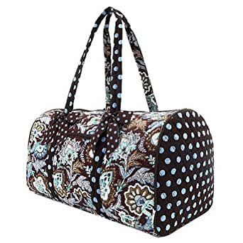 Belvah Brown and Turquoise Quilted Floral Large Duffle Bag