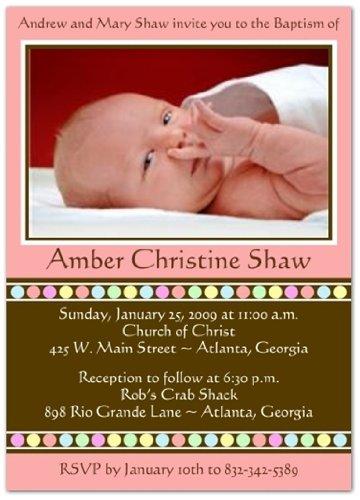 Gumballs On Pink Baptism Invitations Christening Invitations - Set Of 20 front-1003219
