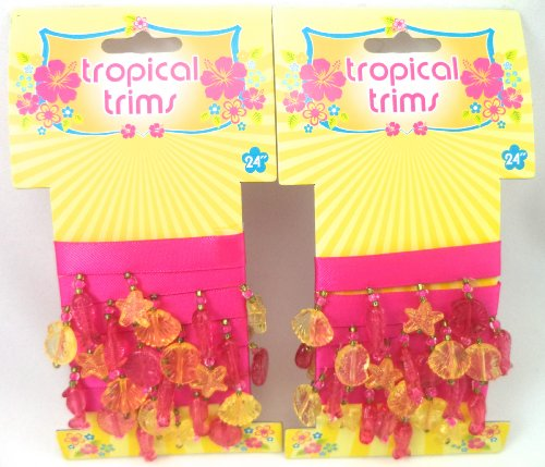 Buy Discount Tropical Trims Hot Pink Seashell Beaded Fringe Trim, (2) Packages: Each package 24&quot...