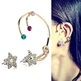 CIShop Rainbow Diamond Lucky Star Ear Cuff Earrings Stud Punk Style Ear Wrap
