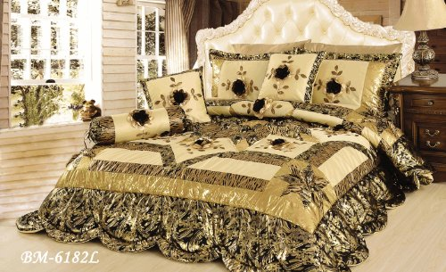 Tache 6 Piece Jungle Dreams Patchwork Comforter Set With Exotic Animal Prints, Queen Size back-80122
