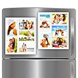 "White Magnetic Picture Frame Collage For Refrigerator - Holds 10 - 4x6 Photos - Organizes Your Fridge For That Model Home Look - ""Slam-Proof"" Flexible Magnet Photo Frame - Makes For a Great Gift - Affordable Way To Protect & Display Your Family Memories!"